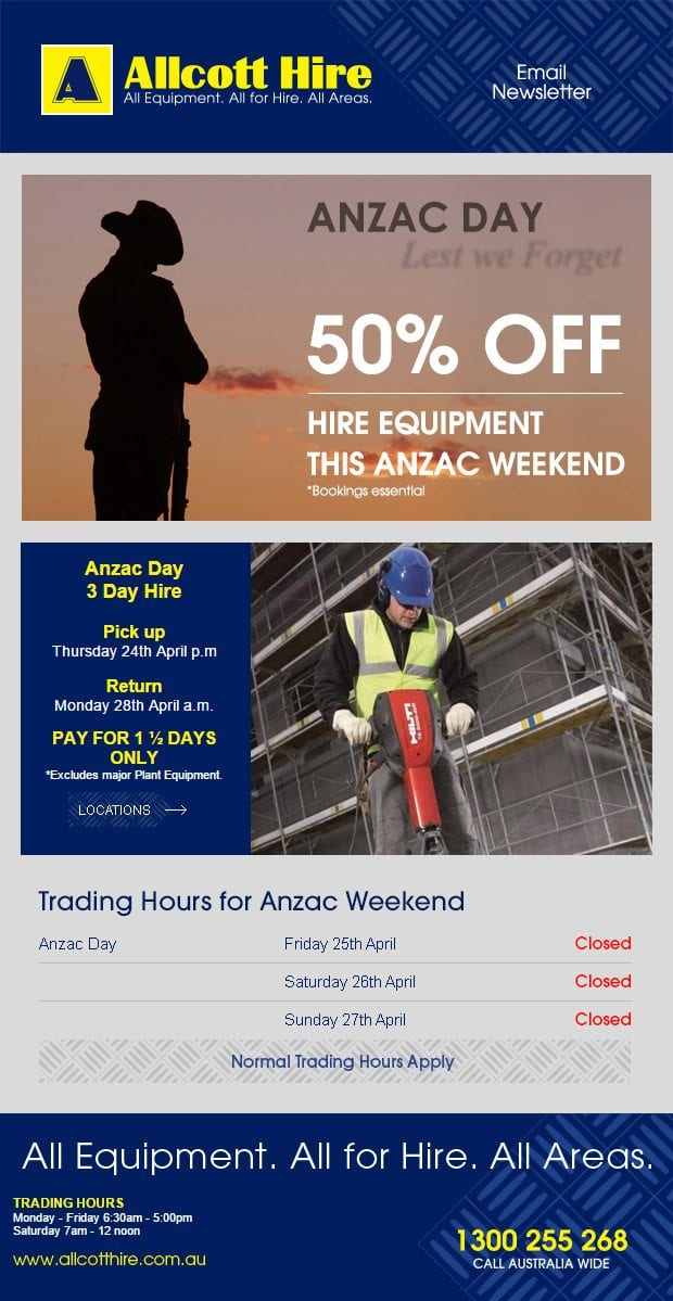 hire-equipment-on-anzac-day
