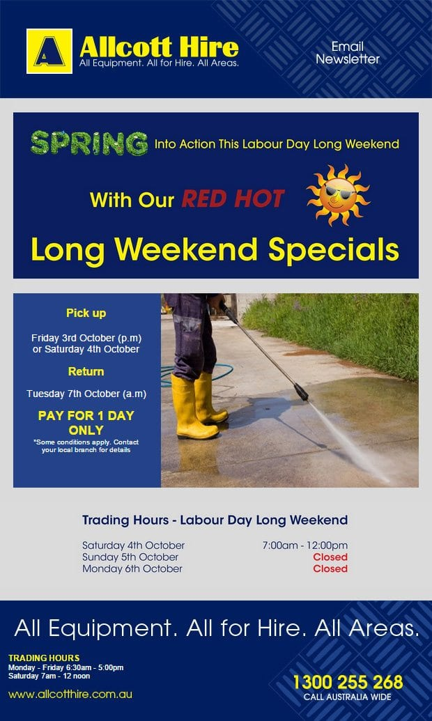 allcott-hire-october-long-weekend