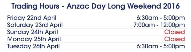 anzac day trading hours - photo #27